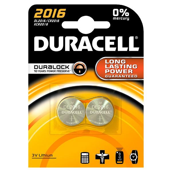 duracell DL2016/BR2016 LITHIUM CR2016 3V - BLISTER 2 BATTERIE MELDU20B2