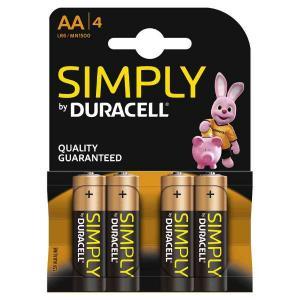 duracell LR6/MN1500 STILO AA SIMPLY - BLISTER 4 BATTERIE MELDU030