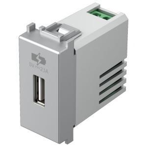 tem EM66 PRESA CARICABATTERIA USB 5V 2,1A GRIGIO ARGENTO TEMEM66ES-U