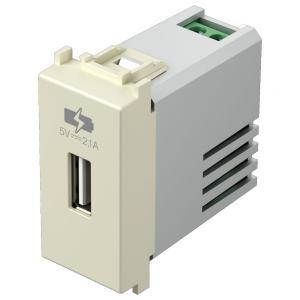 tem EM66 PRESA CARICABATTERIA USB 5V 2,1A BEIGE LUCIDO TEMEM66IW-U