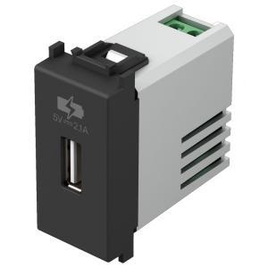 tem EM66 PRESA CARICABATTERIA USB 5V 2,1A NERO OPACO TEMEM66SB-U