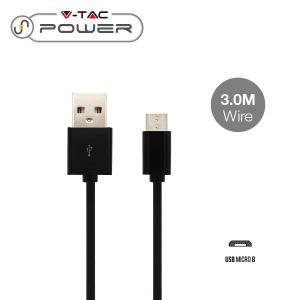v-tac VT-5333 CAVO USB A MICRO USB 3 METRI NERO LED8449/home/nhnkwszl/public_html/img/thumb/300/v-tac_8449_cavo_usb_micro_nero_3mt.jpg
