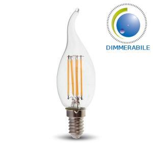 v-tac VT-1997D LAMPADINA LED E14 4W FILAMENTO BIANCO CALDO A FIAMMA DIMMERABILE LED4366