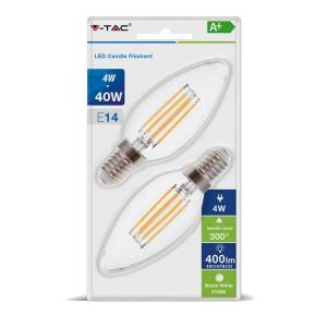 v-tac VT-2174 LAMPADINA LED E14 4W FIL. BIANCO CALDO A CANDELA 2 PEZZI LED7365/home/nhnkwszl/public_html/img/thumb/300/v-tac_vt-2174_7365_4W_lampada_E14_candela_calda_filamento_blister.jpg