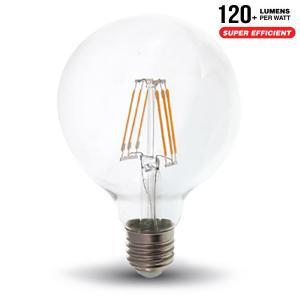 v-tac VT-286 LAMPADINA LED E27 GLOBO G95 6W FILAMENTO CALDA SAMSUNG LED294