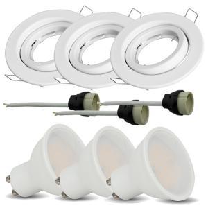 v-tac VT-3333 KIT 3 FARETTI INCASSO BIANCO CON LAMPADA LED 5W BIANCO CALDO ORIENTABILE LED8881