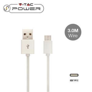 v-tac VT-5343 CAVO USB A USB TYPE C 3 METRI BIANCO LED8457/home/nhnkwszl/public_html/img/thumb/300/v-tac_vt-5543_8457_cavo_usb_typec_bianco_3mt.jpg