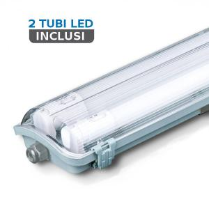 v-tac VT-6029 PLAFONIERA LED TUBI 2X10W BIANCO NATURALE 60CM IP65 LED6465