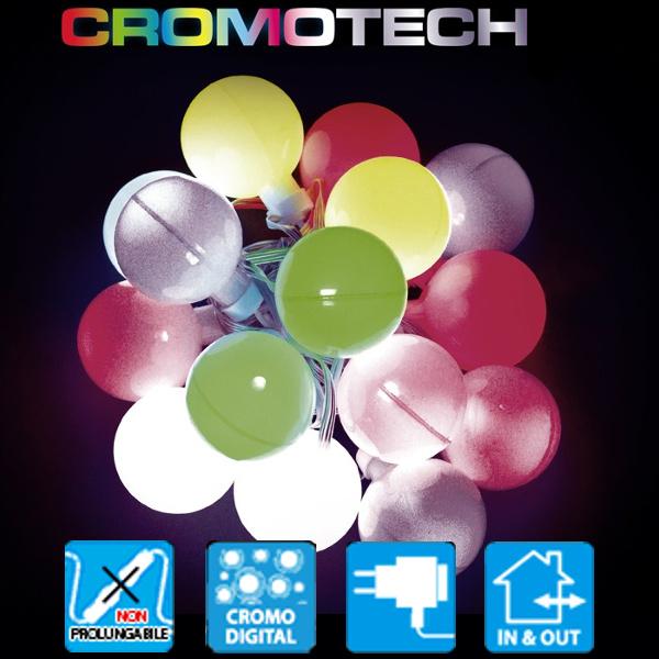 TECNO-NATALE LEDCROMO CATENA 12 SFERE LED RGB CONTROLLER MEMORY MULTICOLORE LEDX30145