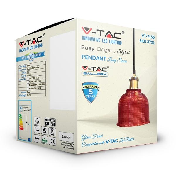 V-TAC VT-7150 PORTALAMPADA E27 PENDENTE VETRO ROSSO D145 LED3731