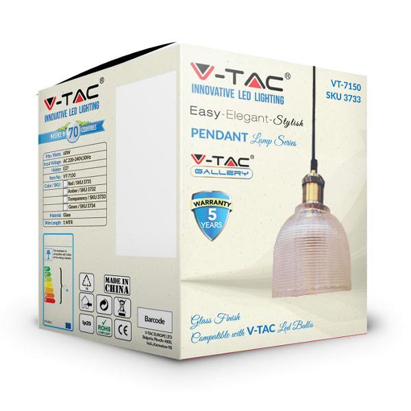 V-TAC VT-7150 PORTALAMPADA E27 PENDENTE VETRO TRASPARENTE D145 LED3733