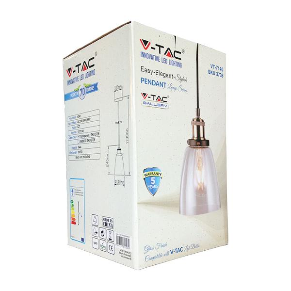 V-TAC VT-7140 PORTALAMPADA E27 PENDENTE VETRO TRASPARENTE D140 LED3735
