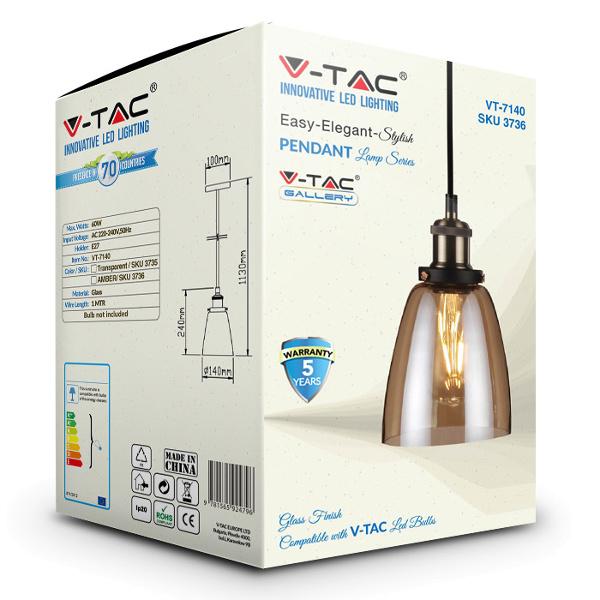 V-TAC VT-7140 PORTALAMPADA E27 PENDENTE VETRO AMBRA D140 LED3736