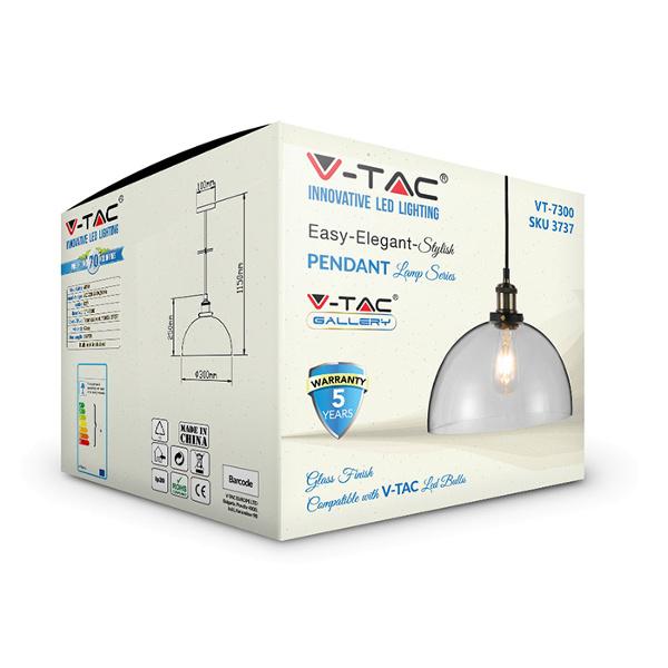 V-TAC VT-7140 PORTALAMPADA E27 PENDENTE VETRO TRASPARENTE D140 LED3737