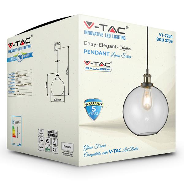 V-TAC VT-7250 PORTALAMPADA E27 PENDENTE VETRO TRASPARENTE D250 LED3739