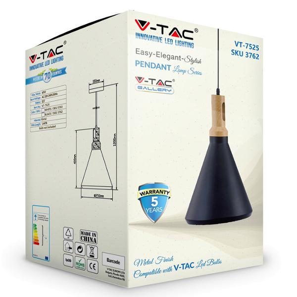 V-TAC VT-7525 PORTALAMPADA E27 PENDENTE LEGNO NERO D250 LED3762