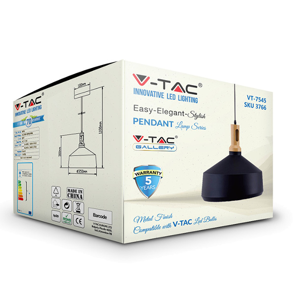 V-TAC VT-7545 PORTALAMPADA E27 PENDENTE LEGNO NERO D350 LED3766