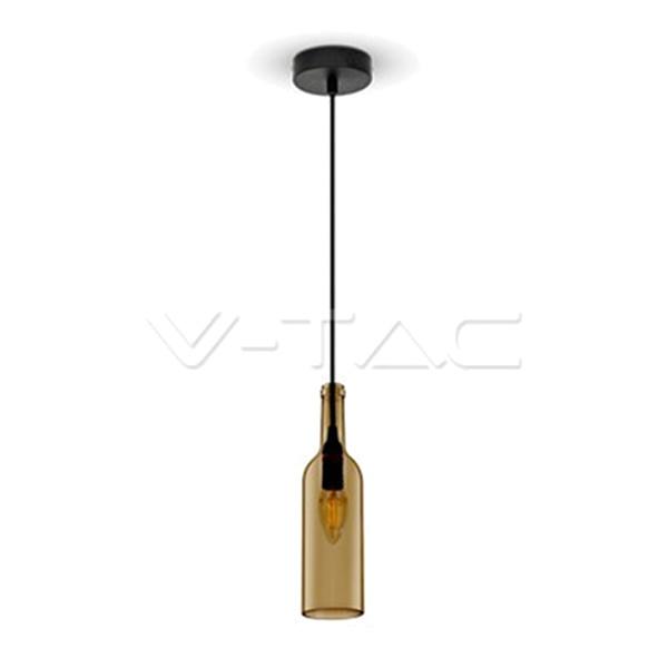 V-TAC VT-7558 PORTALAMPADA E14 PENDENTE VETRO BOTTIGLIA MARRONE LED3776