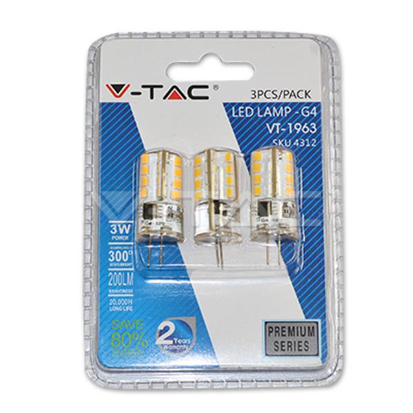 V-TAC VT-1963 LAMPADINA LED G4 3W BIANCO FREDDO BLISTER 3PEZZI LED4314