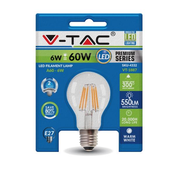 V-TAC VT-1887 LAMPADINA LED E27 FILAMENTO 6W BIANCO CALDO BLISTER LED4332