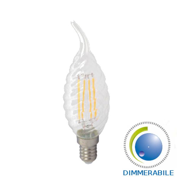 V-TAC VT-1997D LAMP. LED E14 4W FILAM. BIANCO C. A FIAMMA TORTIGLIO DI LED4388