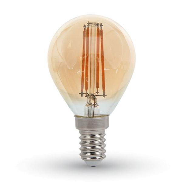 V-TAC VT-1953 LAMPADINA LED E14 4W FIL. AMBRA BIANCO CALDO A BULBO LED4499