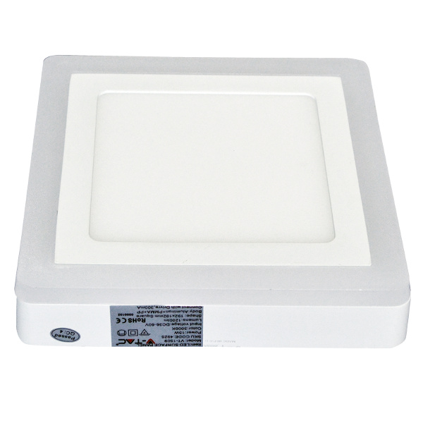 V-TAC VT-1509SQ MINI PANNEL SUPERF. BILED 12W E 3W BIANCO FREDDO QUADRA LED4927