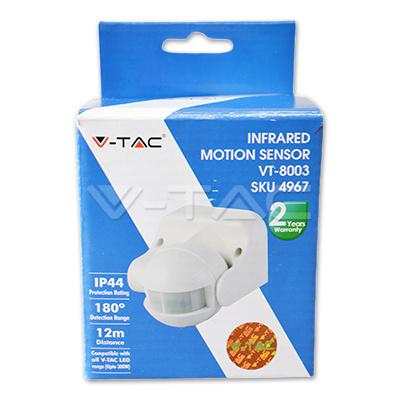 V-TAC VT-8003 SENSORE MOVIMENTO E CREPUSCOLARE 12MT IP44 BIANCO LED4967