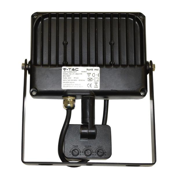 V-TAC VT-4830PIR FARO LED 30W BIANCO NATURALE CON SENSORE GRIGIO-NERO LED5700
