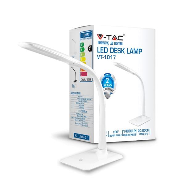 V-TAC VT-1017 LAMPADA DA TAVOLO LED 7W BIANCO NATURALE CORPO BIANCO LED7053