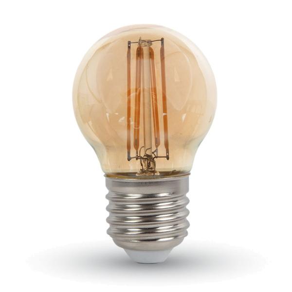 V-TAC VT-1957 LAMPADINA LED E27 4W FIL. AMBRA BIANCO CALDO A BULBO LED7100