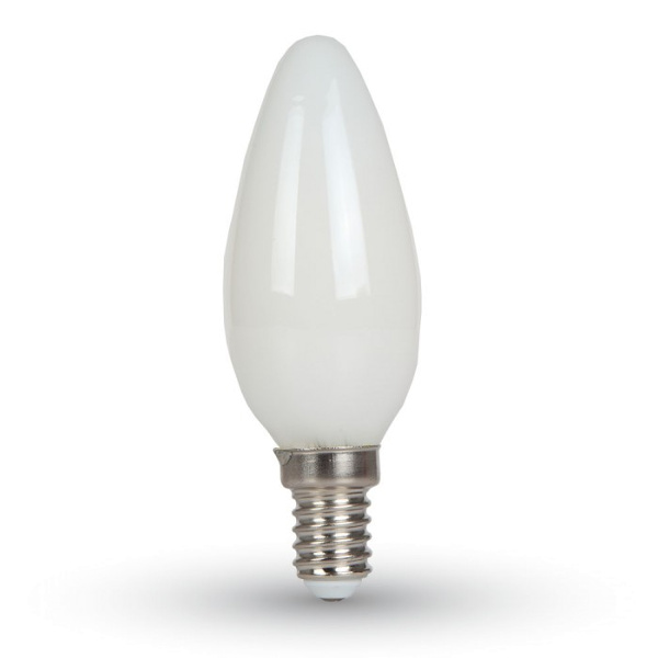 V-TAC VT-1924 LAMPADINA LED E14 4W FIL. OPACA BIANCO CALDO A CANDELA LED7101