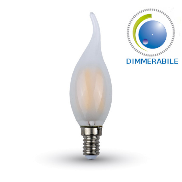 V-TAC VT-2056D LAMP. LED E14 4W FIL. SATINATA BIANCO CALDO A FIAMMA DI LED7177
