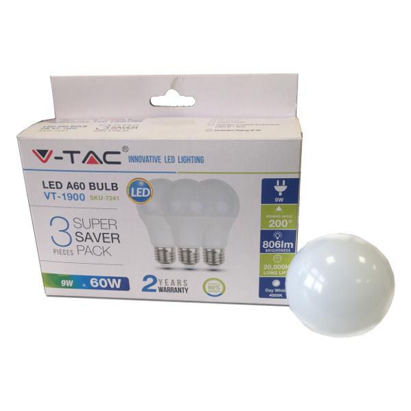 V-TAC VT-1900 LAMPADINA LED E27 9W BIANCO CALDO 3 PEZZI LED7240