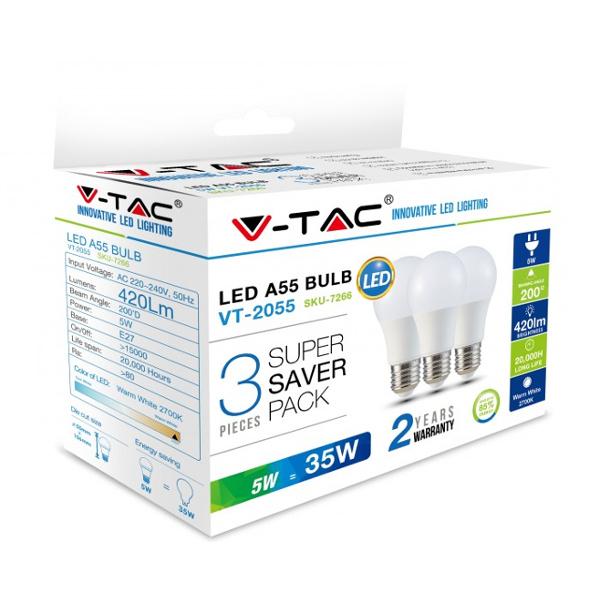 V-TAC VT-2055 LAMPADINA LED E27 5W BIANCO NATURALE 3 PEZZI LED7267