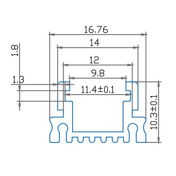 V-TAC VT-7101 PROFILO ALLUMINIO  DA 1MT TRASPARENTE LED9981