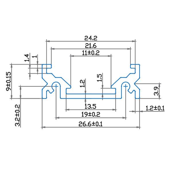 V-TAC VT-7103 PROFILO ALLUMINIO  DA 1MT TRASPARENTE LED9985