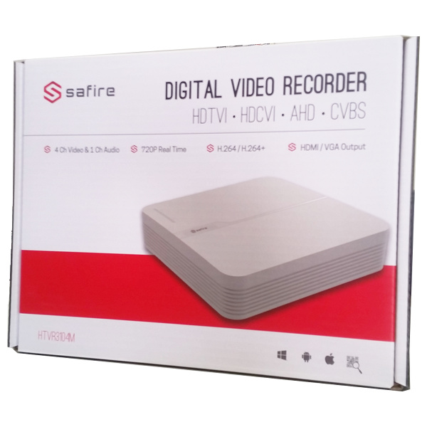 SAFIRE HTVR31M DVR 4 CANALI IBRIDO 4 IN 1 TURBO HD 720P A 25FPS  VISHTVR3104M