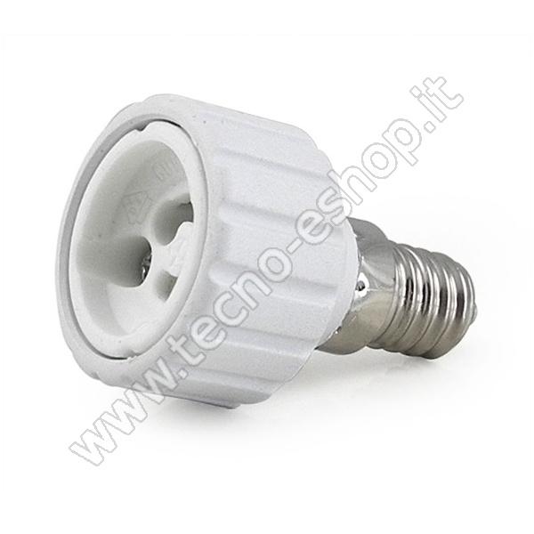 TECNO-ESHOP  ADATTATORE PER LAMPADINE DA E14 A GU10 MELPA1410