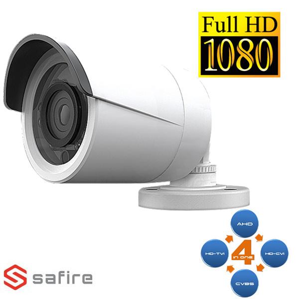 SAFIRE SF029 CAMERA BULLET AHD/TVI/CVI/ANALOGICA 18IR 2MP ECO BIANCA VISSFCV029-F4N1