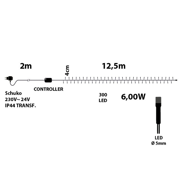 TECNO-NATALE LEDTLE CATENA 300 LED REFLEX CON CONTROLLER BIANCO FREDDO LEDX30879