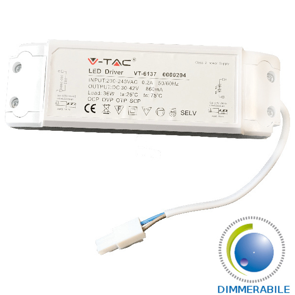 V-TAC  ALIMENTATORE DRIVER DIMMER PER PANNELLO LED 45W DIMMERABILE LED6019