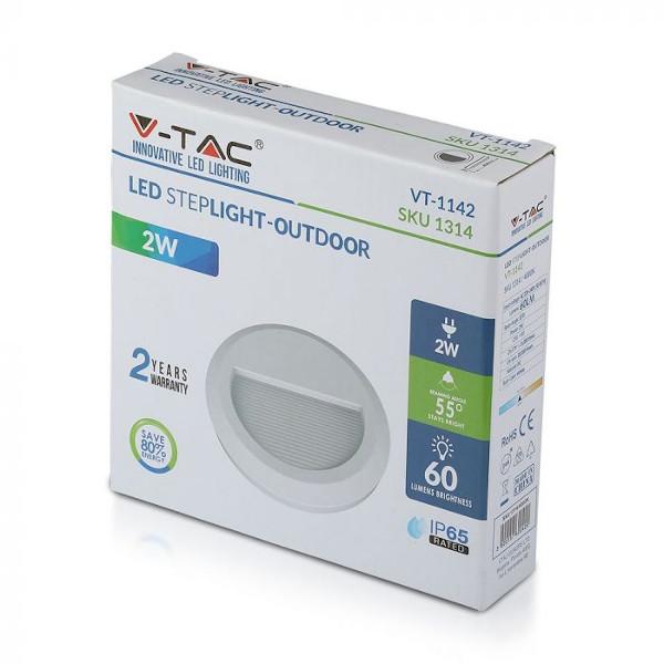 V-TAC VT-1142 SEGNAPASSO LED BIANCO 2W BIANCO NATURALE ROTONDO IP65 LED1314