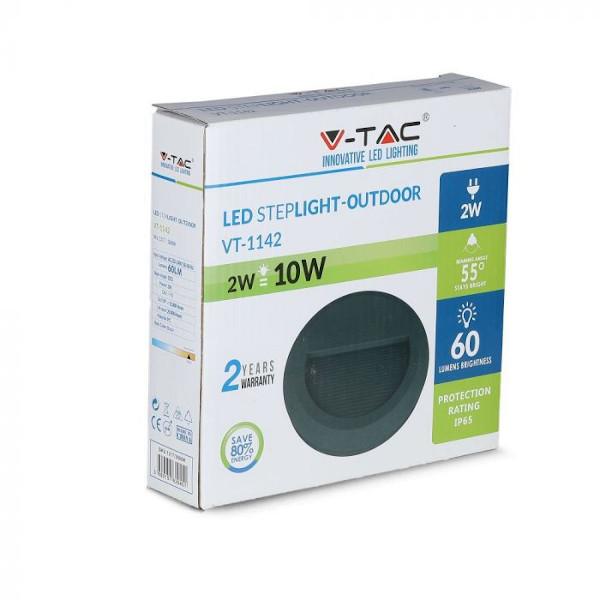 V-TAC VT-1142 SEGNAPASSO LED NERO 2W BIANCO NATURALE ROTONDO IP65 LED1316