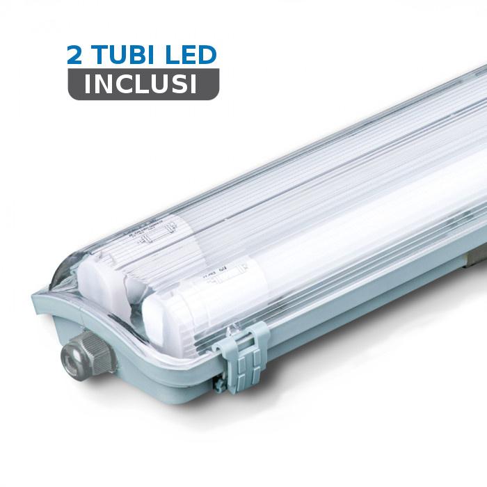 V-TAC VT-12023 PLAFONIERA LED TUBI 2X18W BIANCO NATURALE 120CM IP65 LED6387