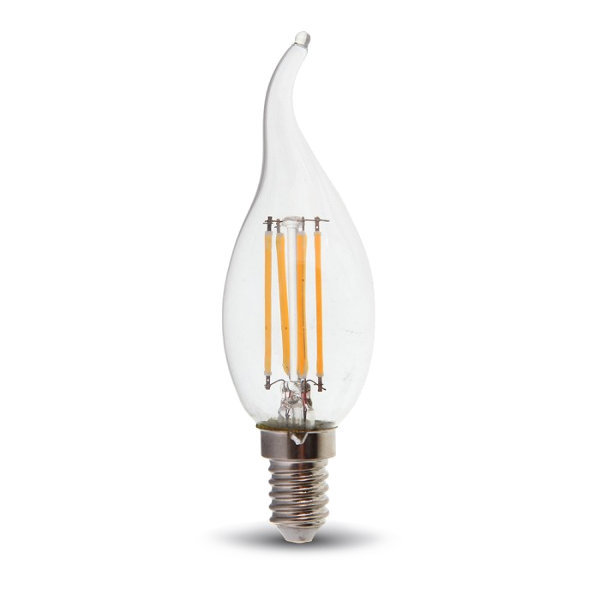 V-TAC VT-1997 LAMPADINA LED E14 4W FILAMENTO BIANCO NATURALE A FIAMMA LED4429