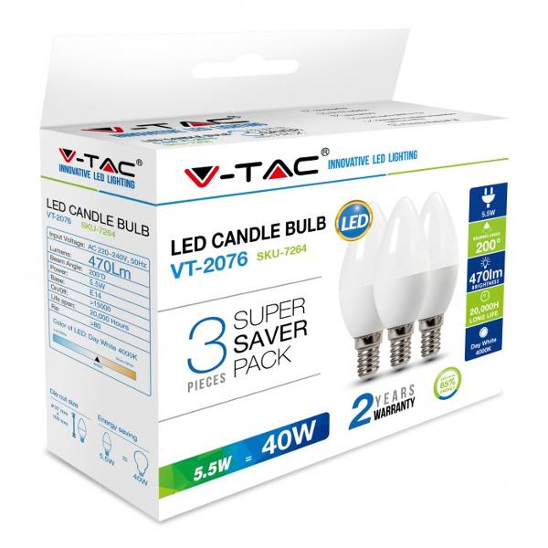 V-TAC VT-2076 LAMPAD. LED E14 5,5W BIANCO NATURALE A CANDELA 3 PEZZI LED7264