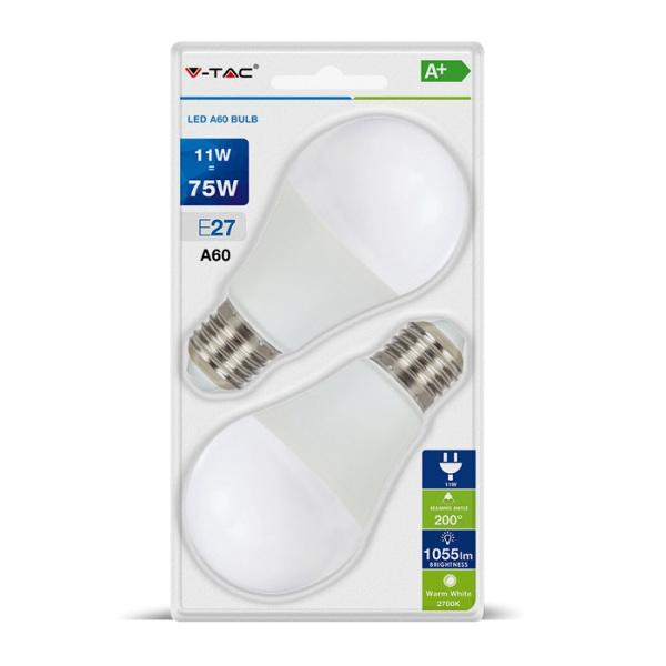 V-TAC VT-2111 LAMPADINA LED E27 11W BIANCO CALDO BLISTER 2 PEZZI LED7297
