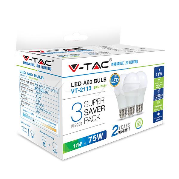 V-TAC VT-2113 LAMPADINA LED E27 11W BIANCO FREDDO 3 PEZZI LED7354