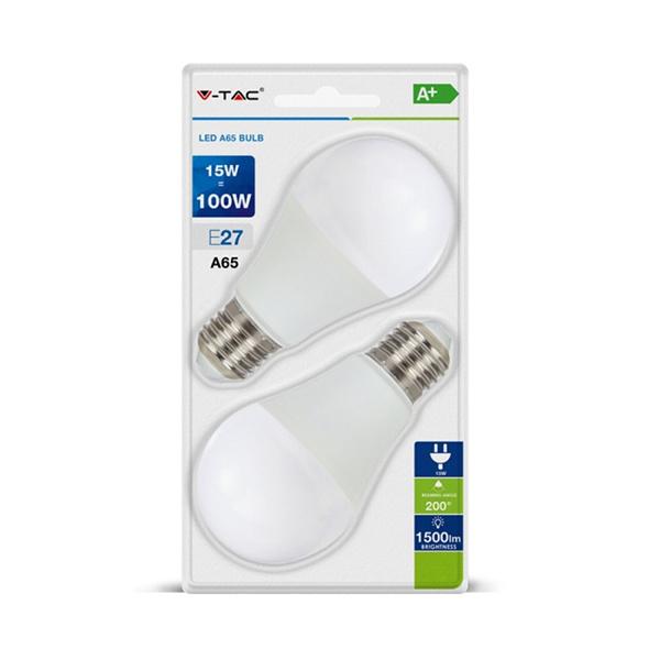 V-TAC VT-2117 LAMPADINA LED E27 15W BIANCO NATURALE BLISTER 2 PEZZI LED7301